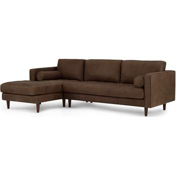 Scott 4 Seater Left Hand Facing Chaise End Corner Sofa, Charm Mocha Premium Leather (H84 x W259 x D100cm)