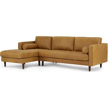 Scott 4 Seater Left Hand Facing Chaise End Corner Sofa, Charm Tan Premium Leather (H84 x W259 x D100cm)