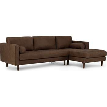 Scott 4 Seater Right Hand Facing Chaise End Corner Sofa, Charm Mocha Premium Leather (H84 x W259 x D100cm)