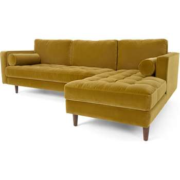 Scott 4 Seater Right Hand Facing Chaise End Corner Sofa, Gold Cotton Velvet (H84 x W259 x D171cm)