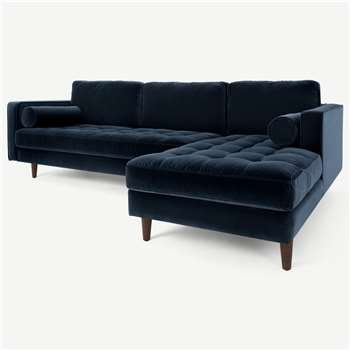 Scott 4 Seater Right Hand Facing Chaise End Corner Sofa, Navy Cotton Velvet (H84 x W259 x D171cm)