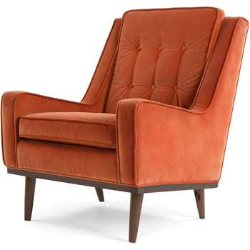 Scott Armchair, Burnt Orange Cotton Velvet (H94 x W70 x D91cm)