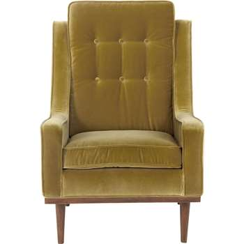 Scott Armchair, Gold Cotton Velvet (94 x 70cm)