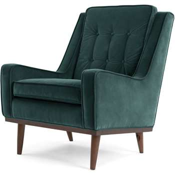 Scott Armchair, Petrol Cotton Velvet (96 x 70cm)