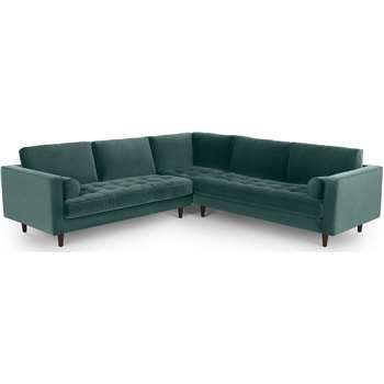 Scott Corner Sofa, Petrol Cotton Velvet (H84 x W275 x D275cm)