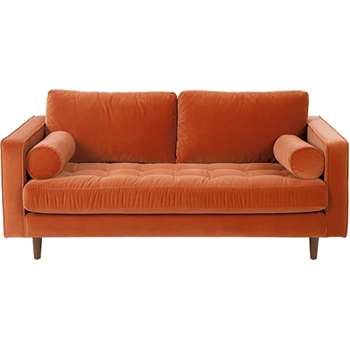 Scott Large 2 Seater Sofa, Burnt Orange Cotton Velvet (86 x 185cm)