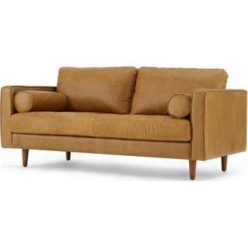 Scott Large 2 Seater Sofa, Charm Tan Premium Leather (H84 x W185 x D100cm)