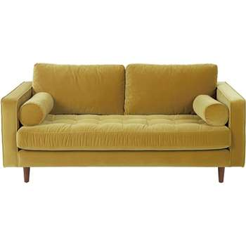 Scott Large 2 Seater Sofa, Gold Cotton Velvet (86 x 185cm)