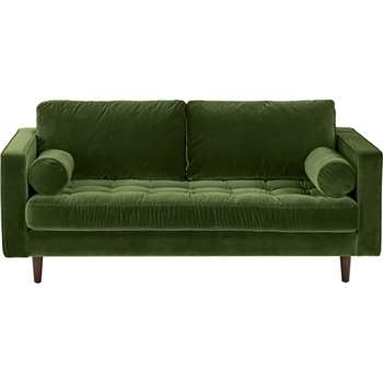 Scott Large 2 Seater Sofa, Grass Cotton Velvet (H84 x W185 x D100cm)