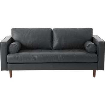 Scott Large 2 Seater Sofa, Oxford Grey Premium Leather (86 x 185cm)