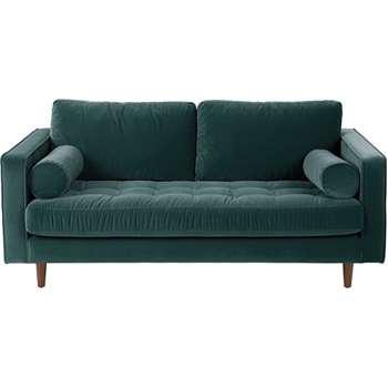 Scott Large 2 Seater Sofa, Petrol Cotton Velvet (86 x 185cm)