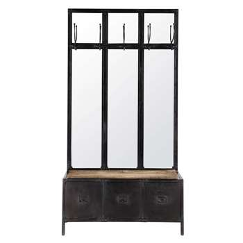 SCOTT Metal hallway unit and mirror, black (H190 x W100 x D40cm)