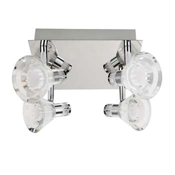 Searchlight 4 Light LED Spotlight Plate Satin Chrome (H13 x W25 x D20cm)