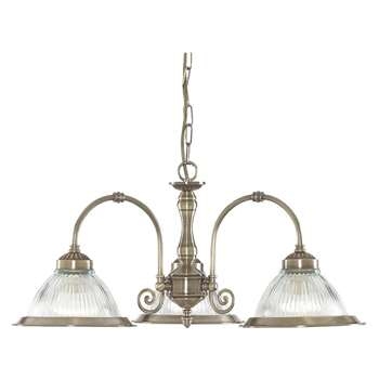 Searchlight American Diner 3 Light Ceiling Light Antique Brass (Height 82cm)