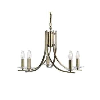 Searchlight Ascona 5 Light Ceiling Light Antique Brass (H90 x W30 x D30cm)