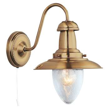 Searchlight Fisherman Wall Light Antique Brass (H27 x W18cm)