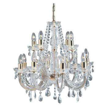 Searchlight Marie Therese 12 Light Chandelier Polished Brass (H60 x W63 x D63cm)