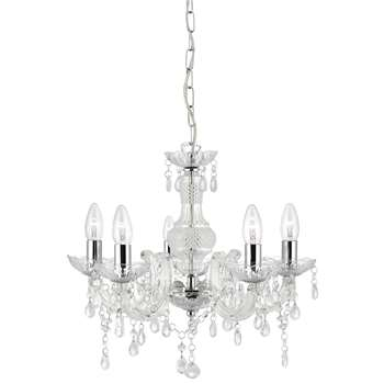 Searchlight Marie Therese 5 Light Ceiling Light Polished Chrome/Clear (H93 x W48 x D48cm)
