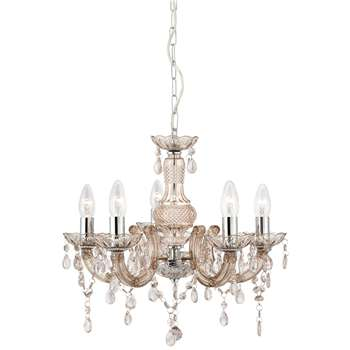 Searchlight Marie Therese 5 Light Ceiling Light Polished Chrome/Mink (H93 x W48 x D48cm)