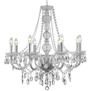 Searchlight Marie Therese 8 Light Clear Ceiling Light (H77 x W74 x D74cm)