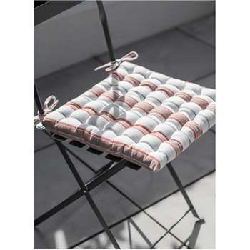 Seat Pad in Coral Stripe - Cotton (40 x 40cm)