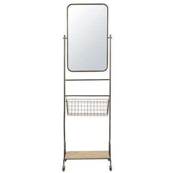 SEATTLE Wheeled Black Metal Mirror with Fir Shelf (H181 x W52.5 x D42.5cm)