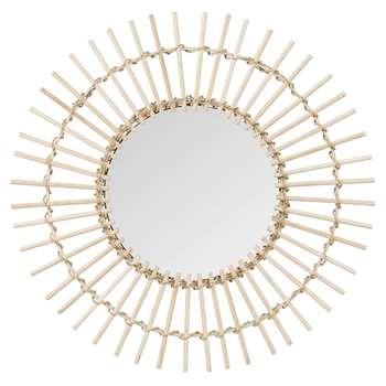 SEBINA - Round Bamboo Mirror (H55 x W55 x D2cm)