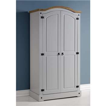 Seconique Corona 2 Door Wardrobe in Grey/Distressed Waxed Pine 192.5 x 98.5cm