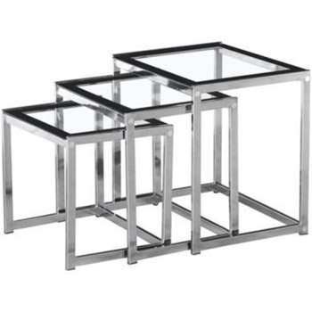 Seconique Henley Nest of Tables in Glass and Black (Width 50cm)