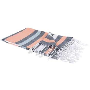 SECRET Orange and Blue Striped Cotton Fouta Towel (H100 x W180cm)