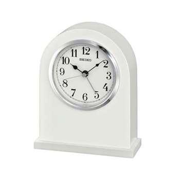 Seiko White Mantel Clock with Alarm (Height 16cm)