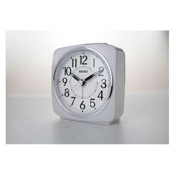 Seiko White Sweep Second Hand Square Alarm Clock 9.1 x 8.8cm