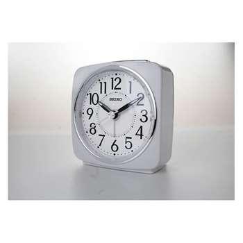 Seiko White Sweep Second Hand Square Alarm Clock 9.1 x 8.8cm