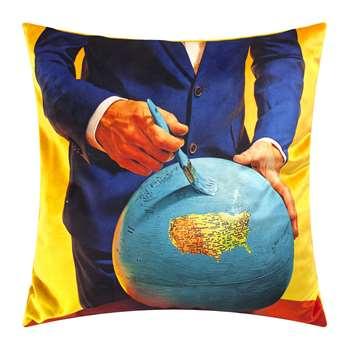 Seletti wears Toiletpaper - Toiletpaper Cushion Cover - Globe (H50 x W50cm)