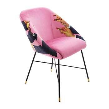 Seletti wears Toiletpaper - Upholstered Padded Chair - Pink Lipsticks (H86 x W79 x D70cm)