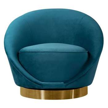 Selini Swivel Chair - Peacock (H76 x W88 x D79cm)