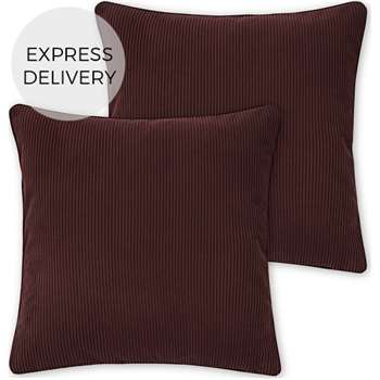 Selky Set of 2 Reversible Corduroy Cushions, Rose Pink & Burgundy (H45 x W45cm)