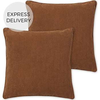 Selky Set of 2 Reversible Corduroy Cushions, Tan & Blush Pink (H45 x W45cm)