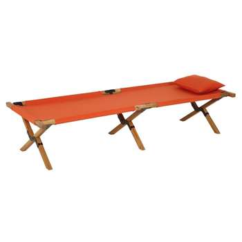 Selous - Folding Camp Bed in Acacia and Terracotta Fabric (H42 x W75 x D195cm)