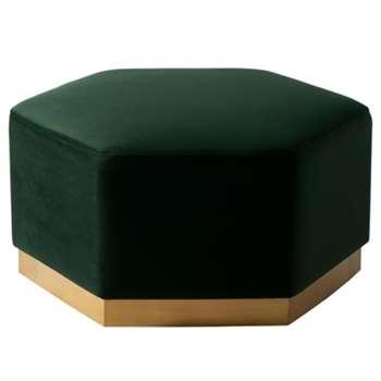 Senio Hexagonal Ottoman Bottle Green (H40 x W82 x D82cm)