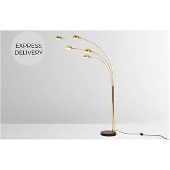 Senk Arc Overreach Floor Lamp, Bright Brass (H221 x W36 x D113cm)