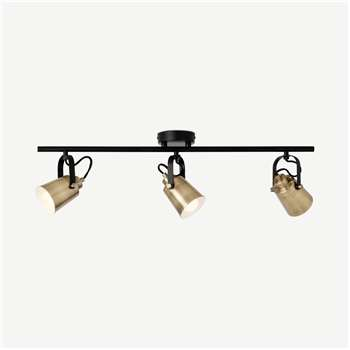 Seppo Ceiling Bar Lamp, Black and Antique Brass (H22 x W75 x D10cm)