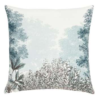 SERAING - White Cotton Cushion Cover with Blue and Grey Floral Print (H40 x W40cm)