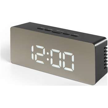 Seren Mirror Finish Alarm Clock, Black (H6 x W14 x D4cm)