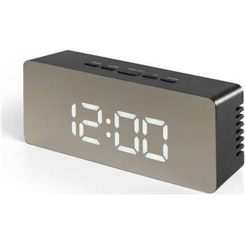 Seren Mirror Finish Alarm Clock, Black (H6 x W14 x D4cm)