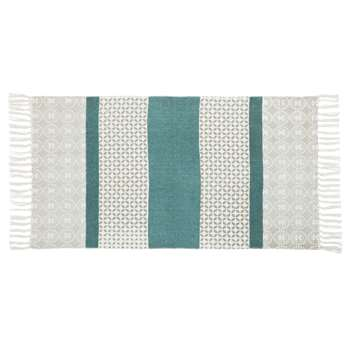 SERENA White, Grey and Green Cotton Rug with Graphic Print (H60 x W90cm)