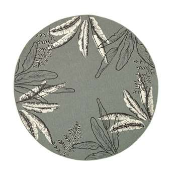 SERONERA Round Green Outdoor Rug with Foliage Print (Diameter 160cm)