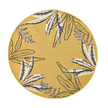 SERONERA Round Yellow Outdoor Rug with Foliage Print (Diameter 160cm)