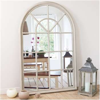 SERRANT wooden mirror in beige H 150cm