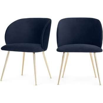 Set of 2 Adeline Carver Dining Chairs, Royal Blue Velvet and Brass (H55 x W78 x D60cm)